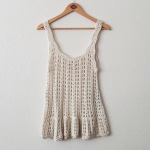 Candie's Beige Open Crochet Loose Tank Top Sz L